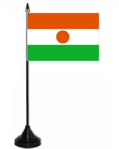 Niger Desk / Table Flag with plastic stand and base.
